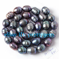 9-11mm Natural Dark Gray Oval Freshwater Pearl Gemstone Spacer Beads Strand 15""