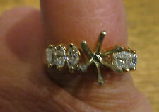 New Old Stock 14kt Engagement Ring Mounting 6 Marquise Diamonds .33 carats