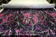 """MOONSHINE MUDDY GIRL BRIDAL SATIN FABRIC HUNTING CAMOUFLAGE 60""""W CAMO SOLD BTY"""