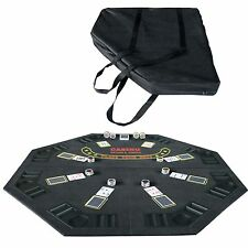 "48"" Folding Octagon Poker Table Top with Cup Holders Chips Trays Black"