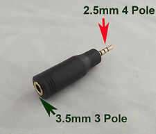 """1x 2.5mm Male Stereo 4 Pole To 3.5mm 1/8"""" Female 3 Pole Audio Adapter Converter"""