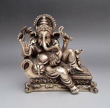 chinese old Handwork Carved Silver Copper elephant nose Buddha statue NR