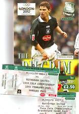 PLYMOUTH V ROTHERHAM 2005 VGC. PLUS MATCH & MARQUIS TICKETS!