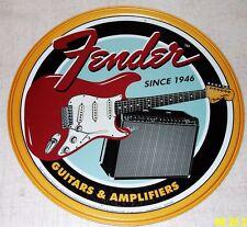 "FENDER Guitar Amplifier Since 1946 12"" Round Tin Sign Man Cave Garage Art Poster"