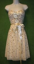BCBG Maxazria Ivory Mesh Sequin Sweetheart Social Wedding Dress 8 $498 MISC