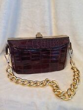 Vintage BASS Brown Crocodile Alligator Handbag Brass
