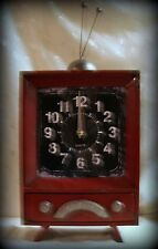 """Battery Clock in Old-Timey Red Metal """"TV"""" Frame with Rabbit Ears 19.5""""x 9.5"""""""