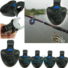 5x Electronic Fish Bite Fishing Sound Bell Alarm Alert Clip On Rod W/ LED Light