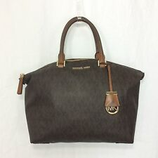 Micheal Kors Jet Set Large Signature MK Brown Satchel Coated Canvas Leather Bag