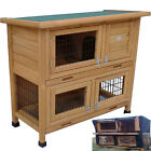 RABBIT HUTCH GUINEA PIG HUTCHES RUN RUNS 2 TIER DOUBLE DECKER CAGE