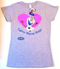 "New Ladies Womens Disney Frozen Olaf ""I Give Warm Hugs"" T Shirt Tee Top Size M"