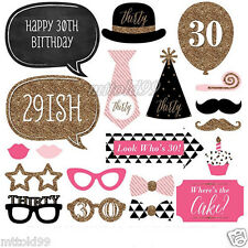 20pcs 30th Birthday Party Photo Booth Props Favour Moustache Photography Kit DIY