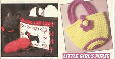 CROCHET PATTERNS: SCOTTY DOG BAG, BOOK TOTE, LITTLE GIRL & WOMENS PURSES, CLUTCH