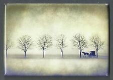 AMISH SILHOUETTE IN THE SNOW *2X3 FRIDGE MAGNET* HORSE BUGGY WINTER LIFE SIMPLE