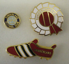 3 x SUNDERLAND A.F.C. FOOTBALL CLUB Enamel Pin Badges Lot ROSETTE, BOOT