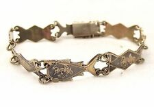 Vtg Sterling Silver Siam Thai Link Bracelet Niello Ware Dancer Goddess Panel God