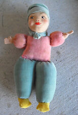 "RARE Vintage 1930s Norah Wellings England Cloth Ethnic Boy  Doll 7 1/2"" Tall"