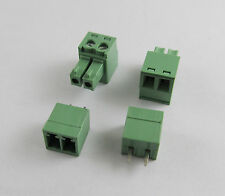 10pcs 2 Pin/Way Pitch 3.81mm Screw Terminal Block Connector Green Pluggable Type