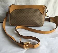 GUCCI VINTAGE CROSS BODY /SHOULDER BAG  SMALL GG 's CANVAS LEATHER HANDBAG