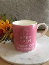 PINK WHITE KEEP CALM CARRY ON SHOPPING GRAPHIC COFFEE MUG CUP CUTE