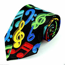 3D Music Colors Mens Necktie Musical Notes Clefs Musician Gift Black Tie New