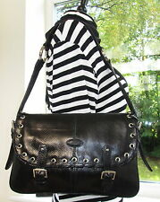 AUTHENTIC VINTAGE MULBERRY BLACK REPTILE SNAKE LEATHER EYELET SHOULDER BAG