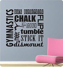 """24"""" Gymnastics Sports Saying Collage Handspring Tumble Wall Decal Sticker Home"""