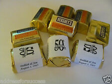 60 Personalized 50th Anniversary Wedding Candy Hershey Nugget Labels Wrappers