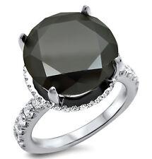 5.80CT BLACK ROUND DIAMOND CARRIE ENGAGEMENT RING 18K WHITE GOLD