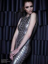 NWOT BCBG Max Azria Agne Open-Back Geo Sequin Maxi Dress gown silver size S $598