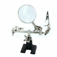 HELPING HAND MAGNIFIER with 2 ALLIGATOR CLAMPS SOLDERING 3rd HAND JEWELRY New