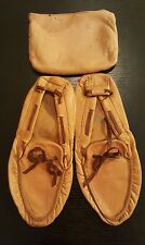 Vtg Mens Folding Travel Slippers Zipper Bag SZ 11 MILLER BROTHER'S Leather Brown