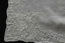 Handkerchief, Antique ivory intricate embroidery art deco floral, pull work, 12""