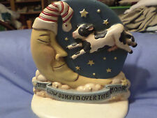 Vintage Cast Iron Door Stop Hand Painted COW JUMPED OVER MOON Midwest Importer