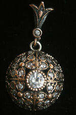 Ottoman Victorian Style 0.5 Carat Topaz 925 Sterling Silver Round Pendant
