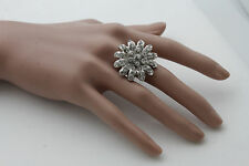 New Women Silver Metal Ring Fashion Jewelry Big Flower Rhinestones One Size Band