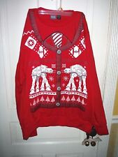 Disney Star Wars Battle of Hoth AT-AT Ugly Christmas Sweater Cardigan Print X-L