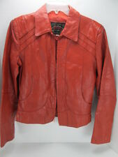 Casablanca Leather Jacket Rust 38 Lots of Detailing Zippered Women's Pockets T