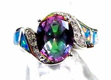 Rainbow Lab Fire Opal & 9*7mm Mystic Topaz & WT Size 11 Silver 925 Filled Ring