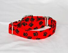 "1"" Small (whippet) Martingale Dog Collar Black Dog Paws on Red"