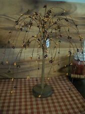 PRIMITIVE BURGUNDY/MUSTARD PIP BERRY WILLOW TREE WITH STARS  HOME DECOR