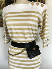 RARE FABULOUS CHANEL BLACK QUILTED LEATHER GOLD CHAIN WAIST BELT BAG FANNYPACK