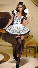 French Maid Costume Floral Dress Apron Beer Girl Waitress Halloween Oktoberfest