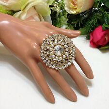 "Indian Bridal/ Party Wear Adjustable Fancy Ring (Wide 1.8"")"
