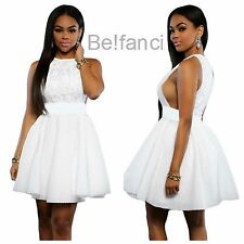 NEW SEXY WHITE LACE OPEN SIDES SIDE BOOBS SKATER DRESS SIZE 8 10 12 14 UK