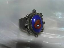 Vintage Unmarked Silver with Blue & Red Oval Ceramic or Fused Glass Ring Size 7