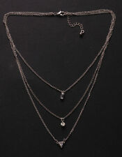 Silver chain Layered Pyramid, Diamanté & Clear Stone Charm Necklace(Ns23)