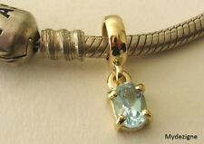 GENUINE 9K  9ct  SOLID YELLOW  GOLD  CHARM  BEAD  with  BLUE TOPAZ  DROP