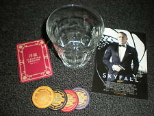 007 James Bond Skyfall Glass Tumbler & 4 Poker Chips - Casino Royale, Spectre