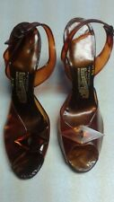 VINTAGE 'THE SIPPER BOX' STRAP ON MARBLE/TORTOISE LOOK LUCITE HEEL SHOE.